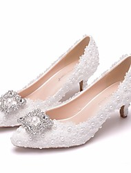 cheap -Women's Wedding Shoes Pumps Pointed Toe Wedding Pumps Business Sexy Minimalism Wedding Party & Evening PU Pearl Sparkling Glitter Button Solid Colored Color Block White