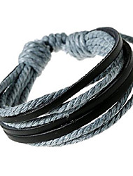 cheap -fashion adjustable leather wristband and rope cuff bracelet - great for men, women, teens, boys, girls