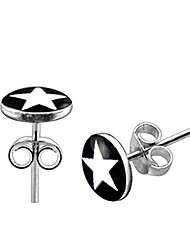cheap -White Star on Black Background Logo Picture Silver Stud Earring Jewellery
