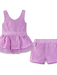 cheap -toddler girls shorts set summer sleeveless dress and shorts outfit purple size 4t