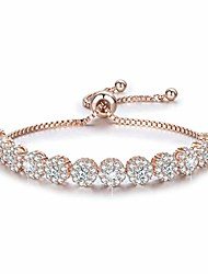 cheap -classic rose gold plated bracelet cubic zirconia adjustable tennis bracelet for women 6.7 inches