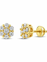 cheap -Mens Ladies 14K Gold Over Silver Lab Diamond Earrings Screw Back Studs Iced Out aretes para hombre - Men's Earrings, Screw Back, Men's Jewelry, Hip hop Earring