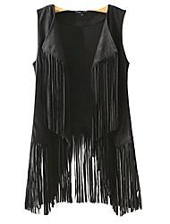 cheap -fall fashion women tassel fringed faux suede jacket waistcoat waistcoat vest sml