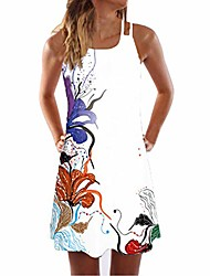 cheap -aihihe women's sleeveless boho floral print loose casual short dress summer beach mini dresses sundress - black - 16