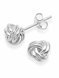 cheap -sterling silver wool knot earrings - size: 6mm. gift boxed silver wool knot stud earrings. 5198