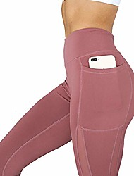cheap -High Waist Solid Yoga Pants with Pocket, Soft Fitness Sport Running Leggings Gym Wear (red, XL)