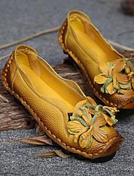 cheap -women genuine leather handmade flowers vintage flats