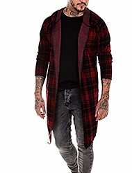 cheap -hooded coat cardigan for men long hoodie 2019 new plaid asymmetrical hem open front jacket red