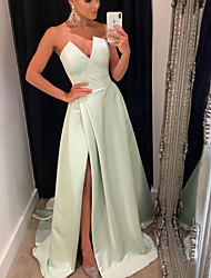 cheap -A-Line Minimalist Sexy Engagement Formal Evening Dress Strapless Sleeveless Sweep / Brush Train Satin with Split 2021