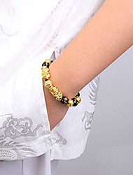 cheap -Feng Shui Pixiu Good Luck Bracelets for Men Women Black Obsidian Mantra Bead Bracelets Pi Yao Attract Wealth Money Bracelelts with Gold Plated 1pc