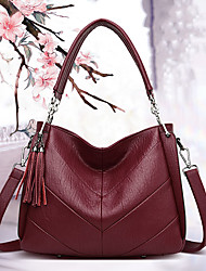 cheap -women large capacity solid tassel tote bag crossbody bag handbag