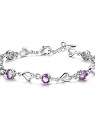 voordelige -sterling zilver zirkonia liefde en bescherming armband voor vrouwen cadeau vriendschap geschenken, zuster cadeau sieraden (paars)