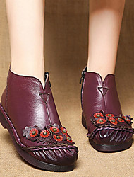 cheap -retro round toe flowers pattern leather ankle boots