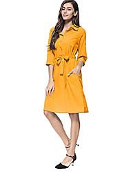 cheap -ladies 3/4 sleeve dress solid dress formal midi dress yellow s