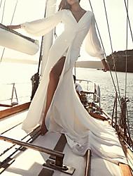 cheap -Sheath / Column Wedding Dresses V Neck Floor Length Chiffon Long Sleeve Simple Beach with 2021