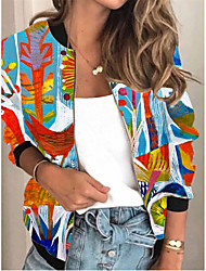 cheap -Women's Print Patchwork Active Spring &  Fall Jacket Regular Daily Long Sleeve Air Layer Fabric Coat Tops Blue