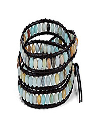 cheap -3 Wrap Boho Bracelet 6mm Beads Natural Stone Amazonite for Women Collection