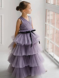 cheap -Princess / Ball Gown Floor Length Wedding / Party Flower Girl Dresses - Tulle Sleeveless V Neck with Tier