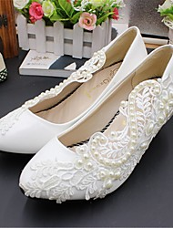 cheap -Women's Wedding Shoes Chunky Heel Pointed Toe Wedding Pumps Wedding Walking Shoes PU Pearl Floral White