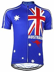 cheap -Men's Short Sleeve Cycling Jersey Summer Polyester Blue Australia Bike Top Mountain Bike MTB Road Bike Cycling Breathable Back Pocket Sports Clothing Apparel / Stretchy / Athletic