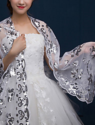 cheap -Sleeveless Shawls / Bridal Tulle Wedding / Party / Evening Shawl & Wrap / Women's Wrap With Paillette