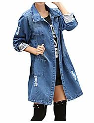 cheap -Ni_ka Women Boyfriend Ripped Denim Jacket Ladies Biker Casual Long Jeans Coats Outdoor Blue Large
