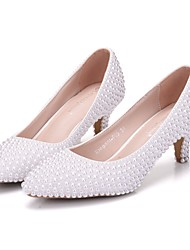 cheap -Women's Wedding Shoes Pumps Pointed Toe Wedding Pumps Business Sexy Minimalism Party & Evening Office & Career PU Pearl Imitation Pearl White Beige