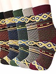 cheap -Women Winter Socks 5 Pairs Thick Wool Soft Warm Women Socks Free Size Vintage Socks for Women (Mix4)