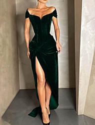 cheap -Sheath / Column Vintage Sexy Wedding Guest Formal Evening Dress V Neck Sleeveless Floor Length Velvet with Split 2021