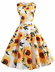 cheap -fashion women vintage brilliant sunflowers printing bodycon sleeveless casual evening party prom swing dress(white,uk-10/cn-m)