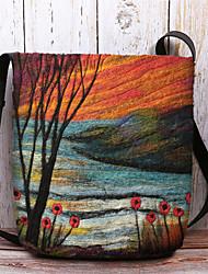 cheap -women lamb fur autumn natural scene colorful diy shoulder bag crossbody bag