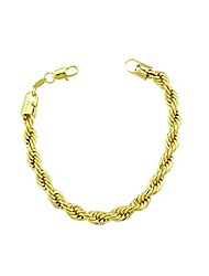 cheap -18K Real Gold Plated Rope chain Link Bracelet For Man 4mm Wide