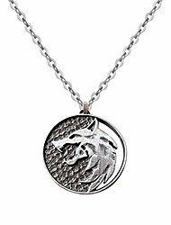 cheap -witcher wolf head necklace pendant in zinc alloy (red eye) (style 1)
