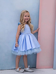 cheap -Princess / Ball Gown Knee Length Wedding / Party Flower Girl Dresses - Satin Sleeveless Jewel Neck with Pleats / Tier