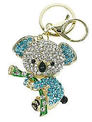 cheap -cute lovely koala bear animal diamond crystal rhinestone gold crystal keychain charm pendent beautiful accessories the best gift for girl women purse handbag bag keyrings (blue)