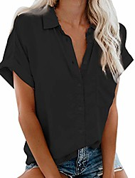 cheap -womens short sleeve button down shirts v neck blouse shirts casual loose collared tops with pockets black