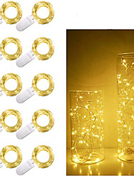 cheap -10pcs 1m 10 LED Fairy Lights Outdoor String Lights CR2032 Battery Operated LED Copper Wire String Lights For Xmas Garland Party Wedding Home Decoration