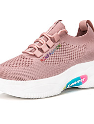 cheap -Women's Trainers Athletic Shoes Hidden Heel Round Toe Classic Daily Tissage Volant Striped White Black Pink