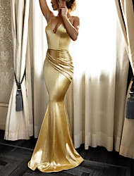 cheap -Mermaid / Trumpet Beautiful Back Sexy Engagement Formal Evening Dress V Neck Sleeveless Sweep / Brush Train Stretch Satin with Pleats 2021