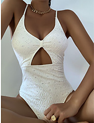 cheap -Women's One Piece Swimsuit Ruched Push Up Cut Out Solid Color White Swimwear Padded Strap Bathing Suits New Fashion Sexy / Embroidery