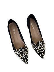 cheap -Women's Wedding Shoes Chunky Heel Pointed Toe Sweet Wedding Daily Walking Shoes PU Solid Colored Black Beige