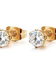 cheap -7MM White Cubic Zirconia Stud Earrings for Man Women, Gold Color Stainless Steel