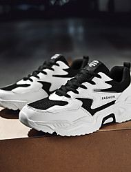 cheap -Men's Trainers Athletic Shoes Sporty Casual Athletic Running Shoes Basketball Shoes Tissage Volant Breathable Non-slipping Wear Proof Black and White Black Fall