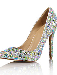 cheap -Women's Wedding Shoes Stiletto Heel Pointed Toe Wedding Pumps Vintage Sexy Minimalism Wedding Party & Evening PU Rhinestone Crystal Sparkling Glitter Solid Colored Color Block Silver Rainbow