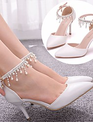 cheap -Women's Wedding Shoes Stiletto Heel Pointed Toe Wedding Pumps Vintage Sexy Minimalism Wedding Party & Evening PU Pearl Buckle Tassel Solid Colored White
