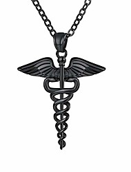 cheap -Men Women 316L Stainless Steel Black Plated Medical Symbol Alert ID Pendant Necklace Snake Caduceus Metal Necklace Emergence Message Jewelry 22Inch Length Extend Design