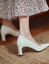 cheap -Women's Wedding Shoes Chunky Heel Square Toe Wedding Daily Nappa Leather Almond White Silver