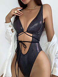 cheap -Women's One Piece Monokini Swimsuit Lace up Push Up Open Back Abstract Black Silver Swimwear Padded Plunge Bathing Suits New Fashion Sexy / Cut Out