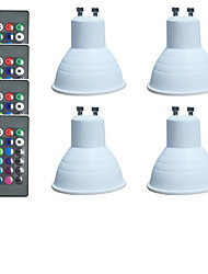 cheap -4pcs 3 W LED Spotlight 300 lm E14 GU10 MR16 4 LED Beads SMD 5050 Dimmable Remote-Controlled Multi-colors 12 V 85-265 V