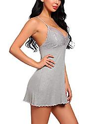 cheap -Women Nightgown Sexy Lingerie Modal Sleepwear Lace Babydoll Full Slips (Gray, Medium)